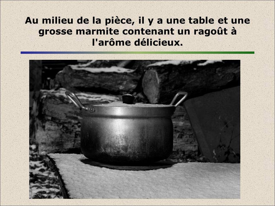 Au milieu de la pièce, il y a une table et une grosse marmite contenant un ragoût à l'arôme délicieux.