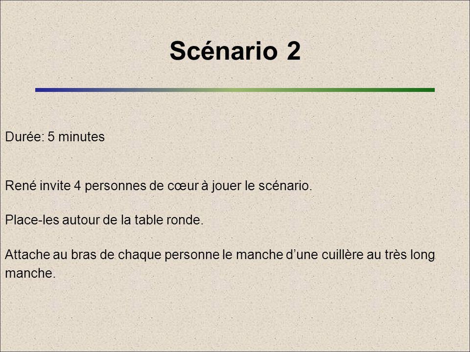 Scénario 2 Durée: 5 minutes René invite 4 personnes de cœur à jouer le scénario. Place-les autour de la table ronde. Attache au bras de chaque personn