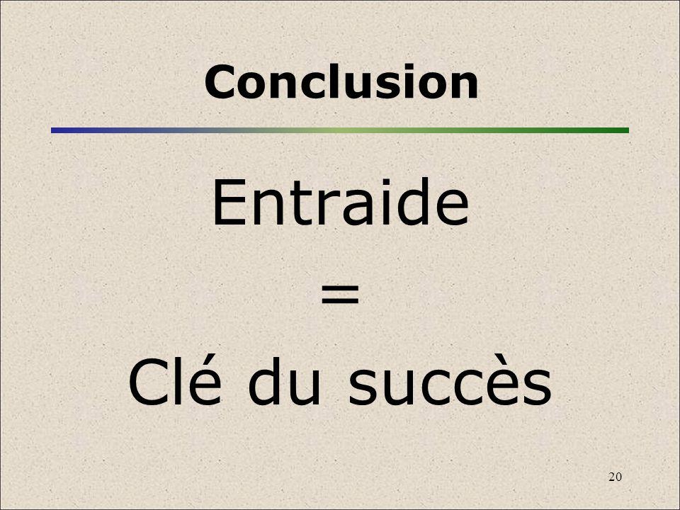 20 Conclusion Entraide = Clé du succès