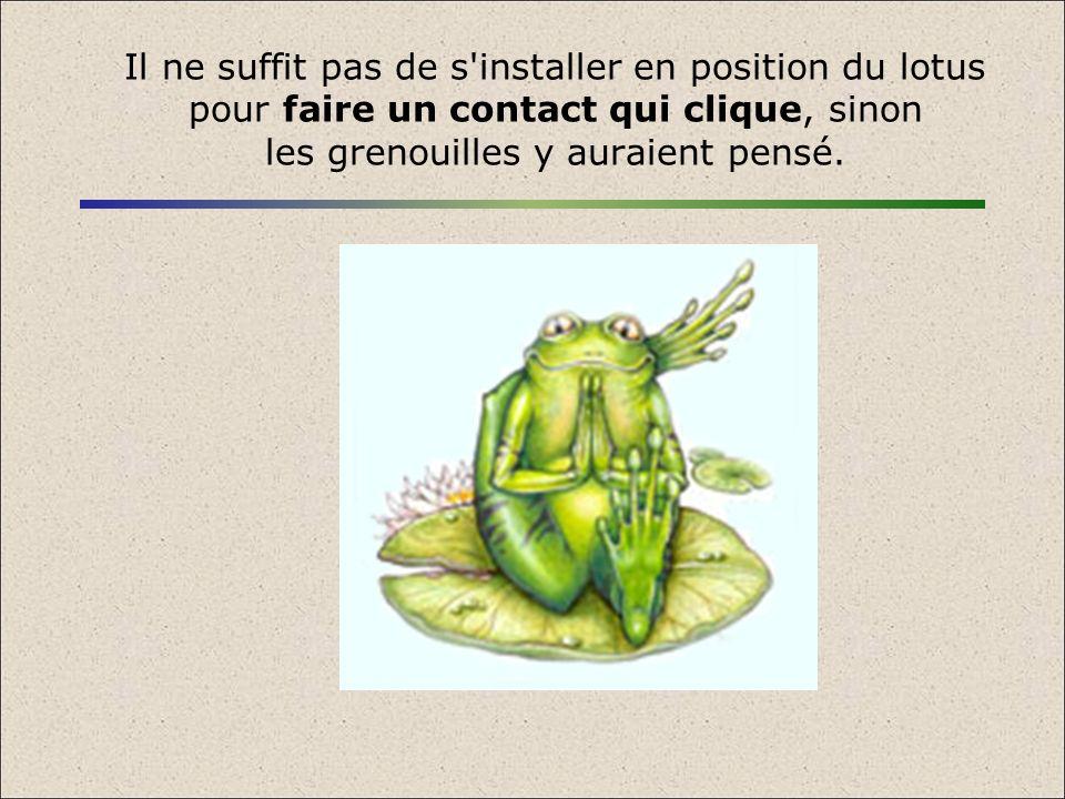 Il ne suffit pas de s'installer en position du lotus pour faire un contact qui clique, sinon les grenouilles y auraient pensé.