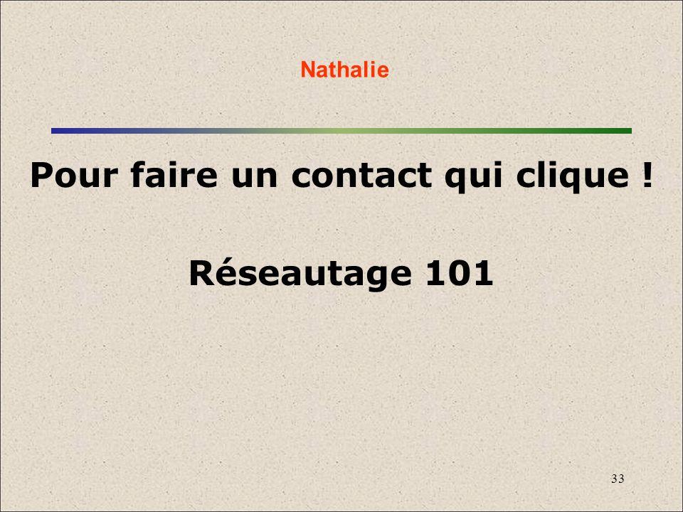33 Pour faire un contact qui clique ! Réseautage 101 Nathalie