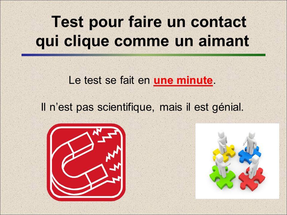 Test pour faire un contact qui clique comme un aimant une minute Le test se fait en une minute. Il nest pas scientifique, mais il est génial.