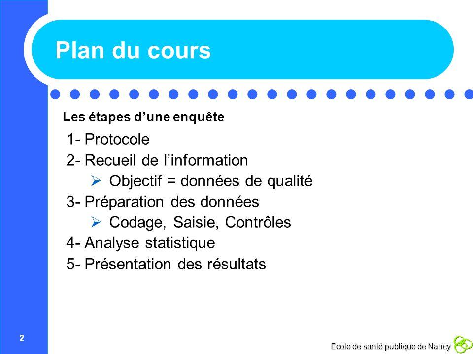 2 Ecole de santé publique de Nancy Plan du cours 1- Protocole 2- Recueil de linformation Objectif = données de qualité 3- Préparation des données Coda