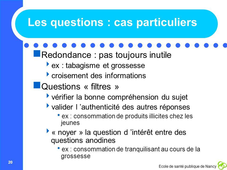 20 Ecole de santé publique de Nancy Les questions : cas particuliers Redondance : pas toujours inutile ex : tabagisme et grossesse croisement des info