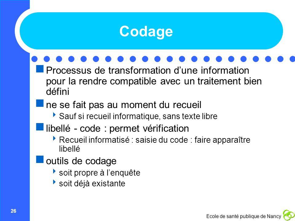 26 Ecole de santé publique de Nancy Codage Processus de transformation dune information pour la rendre compatible avec un traitement bien défini ne se