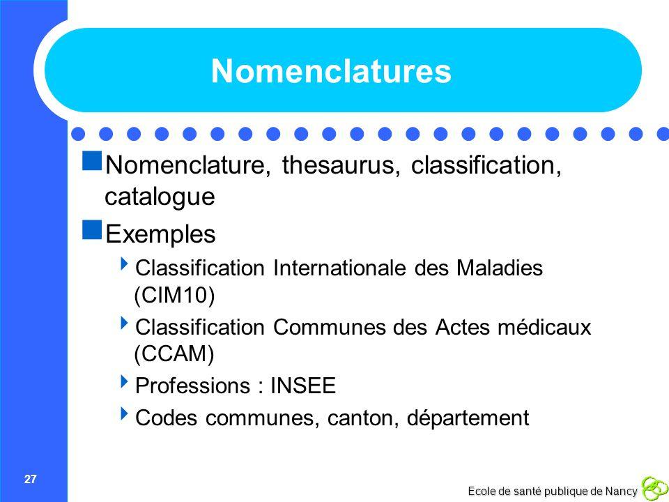27 Ecole de santé publique de Nancy Nomenclatures Nomenclature, thesaurus, classification, catalogue Exemples Classification Internationale des Maladi