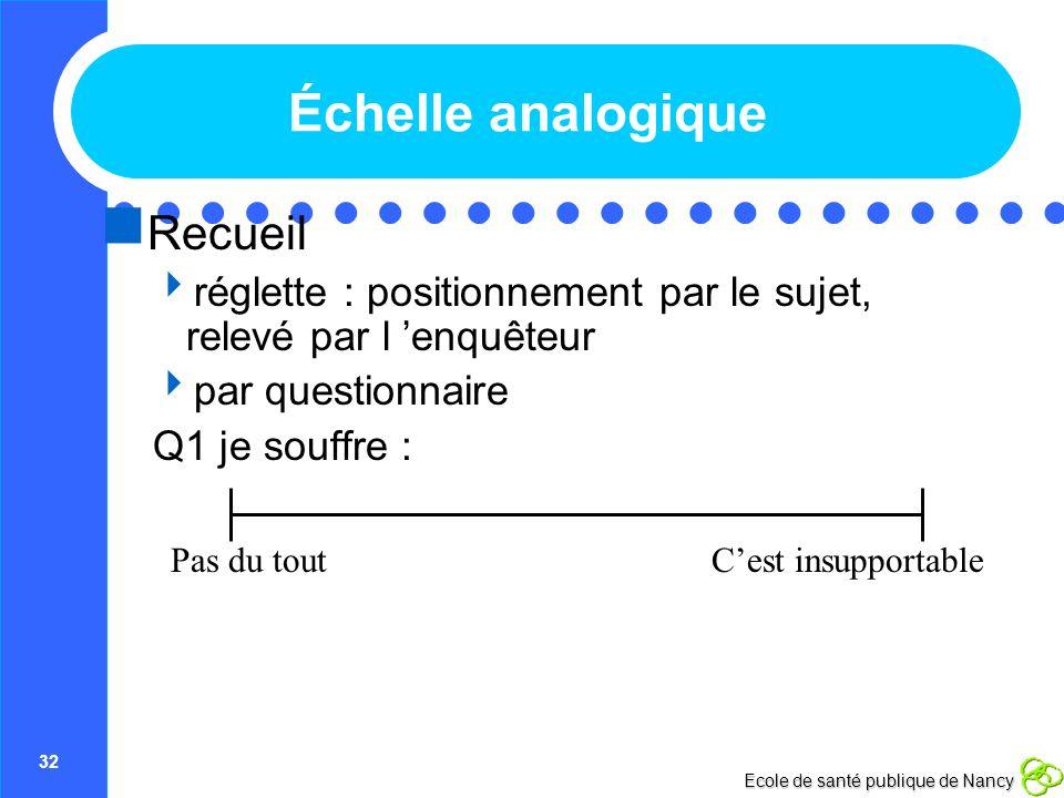 32 Ecole de santé publique de Nancy Échelle analogique Recueil réglette : positionnement par le sujet, relevé par l enquêteur par questionnaire Q1 je