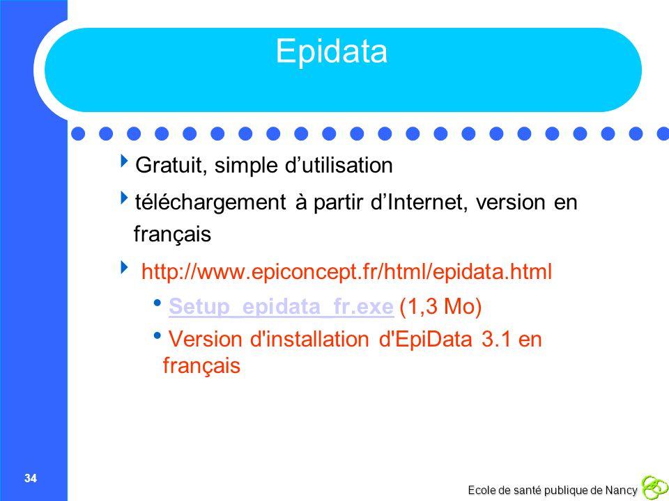 34 Ecole de santé publique de Nancy Epidata Gratuit, simple dutilisation téléchargement à partir dInternet, version en français http://www.epiconcept.