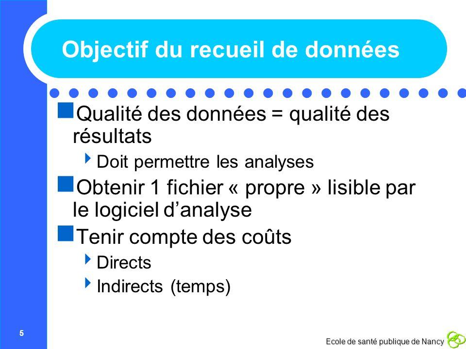 5 Ecole de santé publique de Nancy Objectif du recueil de données Qualité des données = qualité des résultats Doit permettre les analyses Obtenir 1 fi