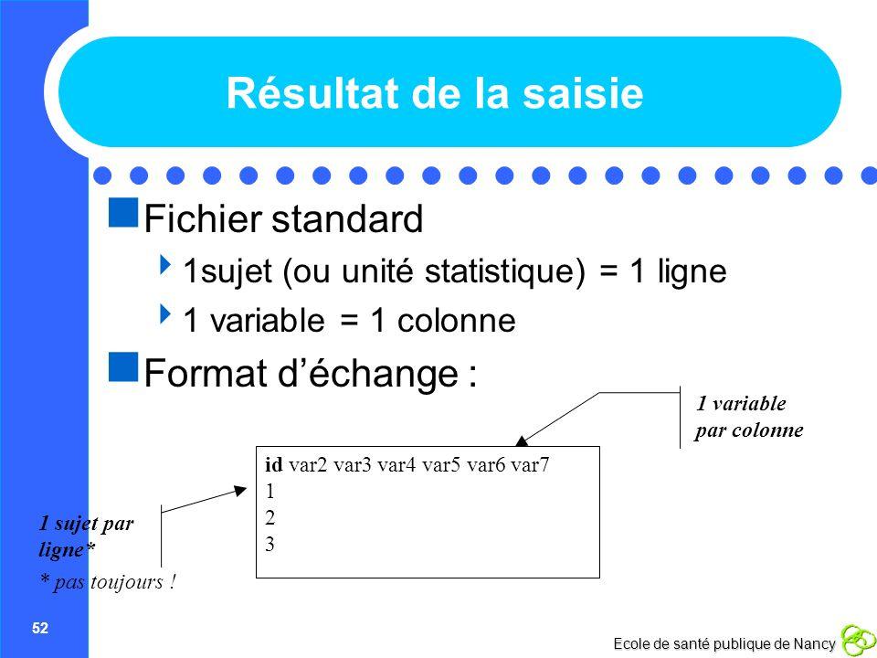 52 Ecole de santé publique de Nancy Résultat de la saisie Fichier standard 1sujet (ou unité statistique) = 1 ligne 1 variable = 1 colonne Format décha