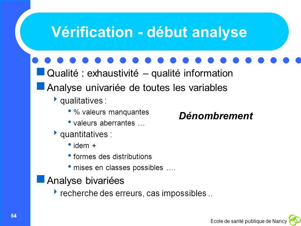 54 Ecole de santé publique de Nancy Vérification - début analyse Qualité : exhaustivité – qualité information Analyse univariée de toutes les variable
