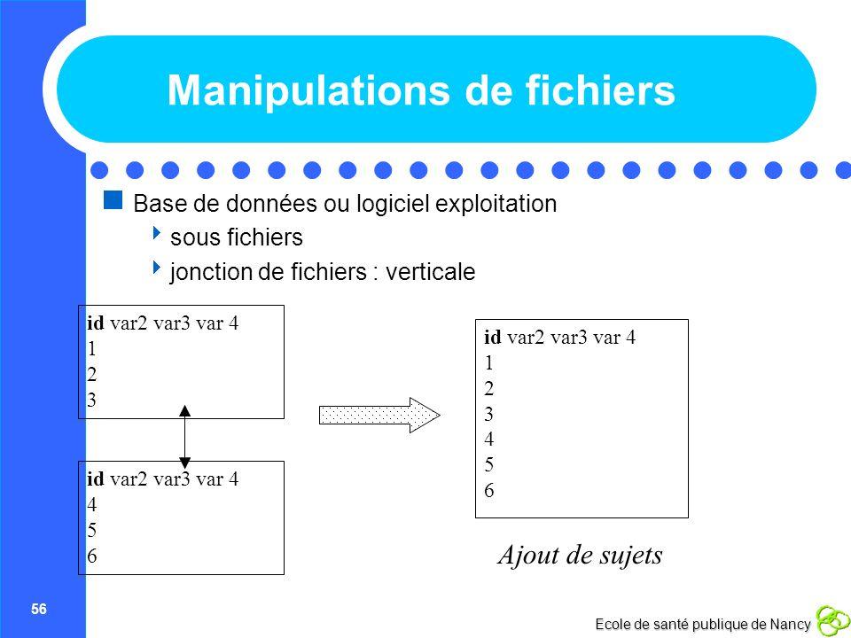 56 Ecole de santé publique de Nancy Manipulations de fichiers Base de données ou logiciel exploitation sous fichiers jonction de fichiers : verticale