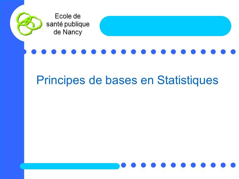 Ecole de santé publique de Nancy Principes de bases en Statistiques