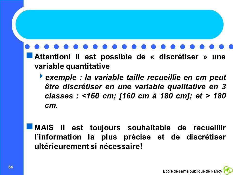 64 Ecole de santé publique de Nancy Attention! Il est possible de « discrétiser » une variable quantitative exemple : la variable taille recueillie en