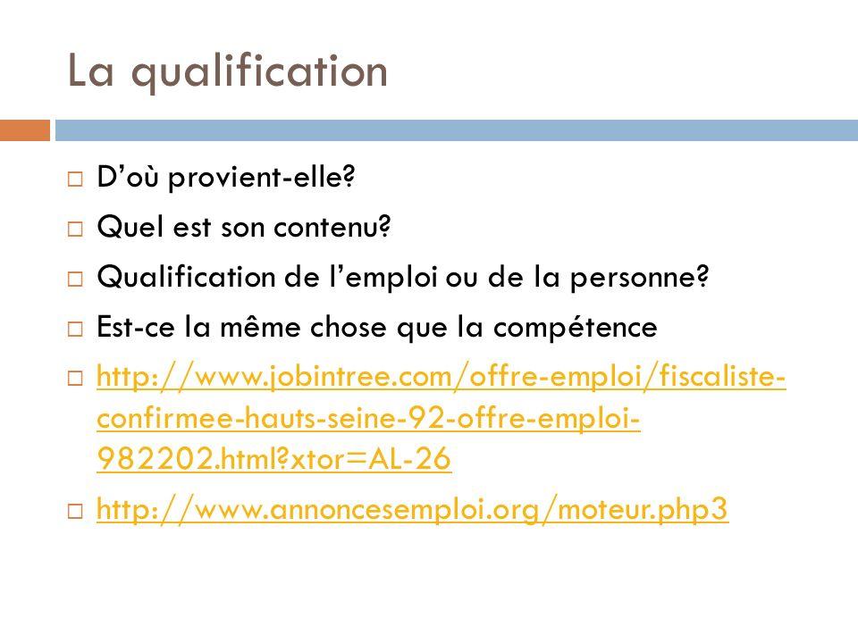 La qualification Doù provient-elle? Quel est son contenu? Qualification de lemploi ou de la personne? Est-ce la même chose que la compétence http://ww