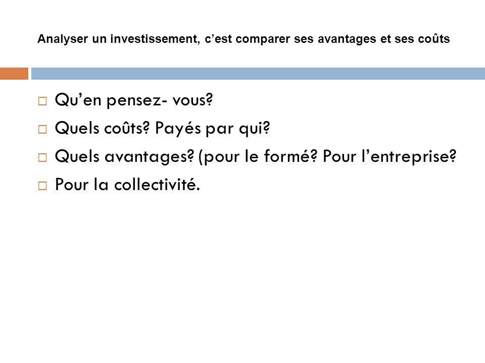 Analyser un investissement, cest comparer ses avantages et ses coûts Quen pensez- vous? Quels coûts? Payés par qui? Quels avantages? (pour le formé? P