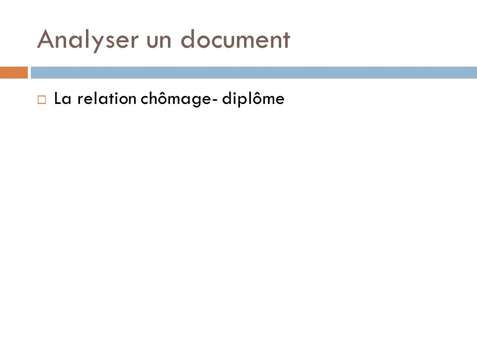 Taux de chômage selon le diplôme (en % des actifs sortis depuis moins de 4 ans de formation initiale) 20032009 Diplômés du supérieur10,19,6 Diplômés du 2e cycle du secondaire 15,123,1 Diplômés du Brevet ou pas diplômés 33,5 Ensemble15,520,2 Source :Insee- Champ: France 49,2 Sur 1000 actifs diplômés du brevet ou sans diplôme, 492 sont chômeurs en 2009 Un actif peu ou pas diplômé sur deux est au chômage