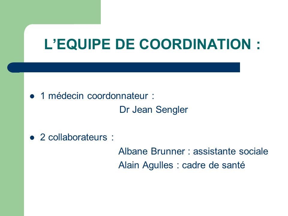 LEQUIPE DE COORDINATION : 1 médecin coordonnateur : Dr Jean Sengler 2 collaborateurs : Albane Brunner : assistante sociale Alain Agulles : cadre de sa