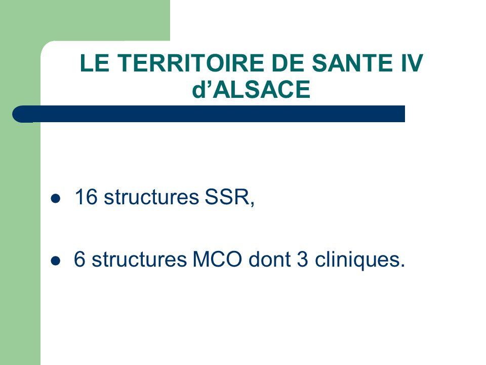 LE TERRITOIRE DE SANTE IV dALSACE 16 structures SSR, 6 structures MCO dont 3 cliniques.