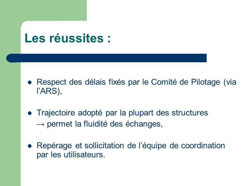 Les réussites : Respect des délais fixés par le Comité de Pilotage (via lARS), Trajectoire adopté par la plupart des structures permet la fluidité des