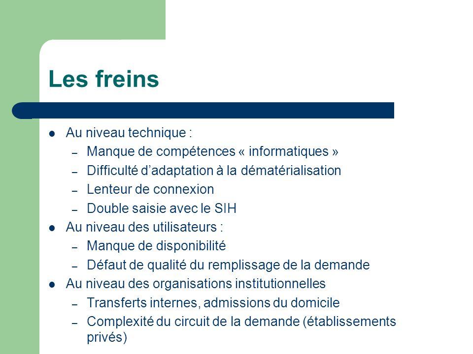 Les freins Au niveau technique : – Manque de compétences « informatiques » – Difficulté dadaptation à la dématérialisation – Lenteur de connexion – Do