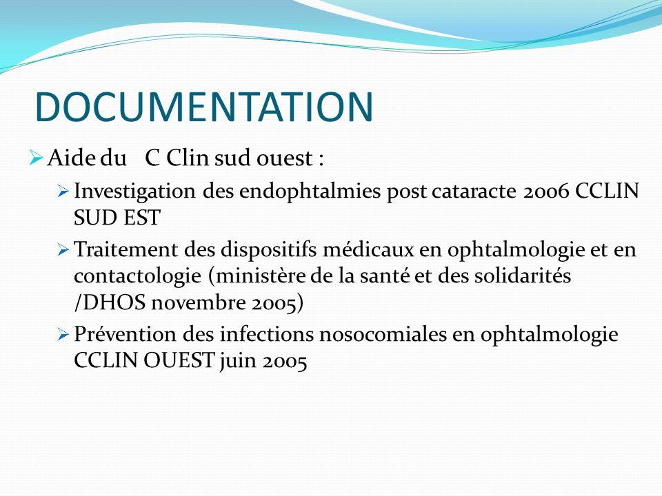 DOCUMENTATION Aide du C Clin sud ouest : Investigation des endophtalmies post cataracte 2006 CCLIN SUD EST Traitement des dispositifs médicaux en opht