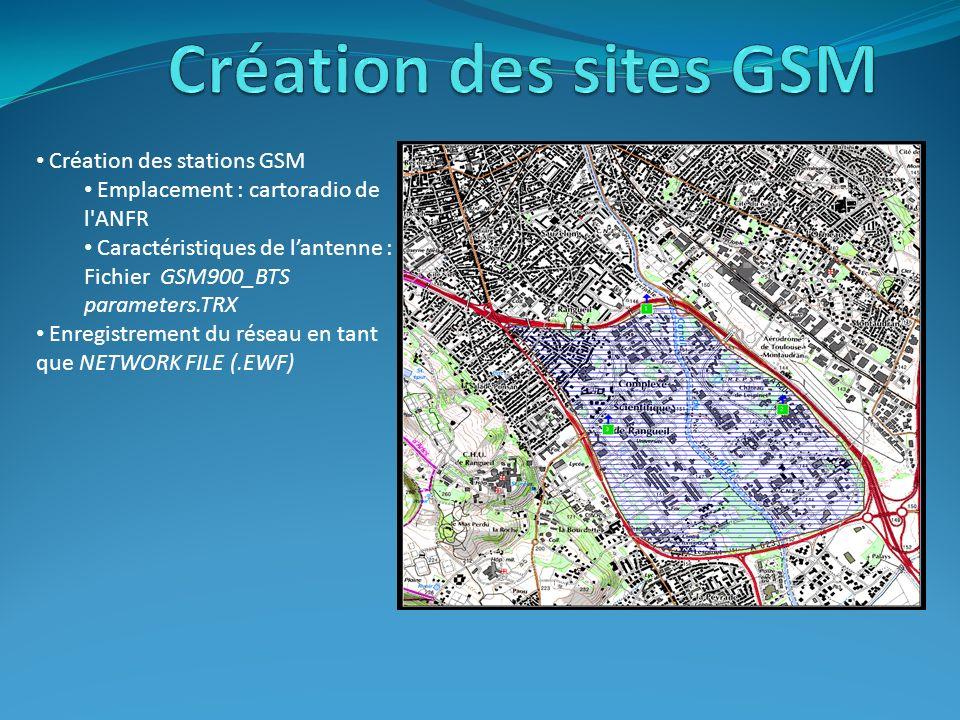 Création des stations GSM Emplacement : cartoradio de l'ANFR Caractéristiques de lantenne : Fichier GSM900_BTS parameters.TRX Enregistrement du réseau