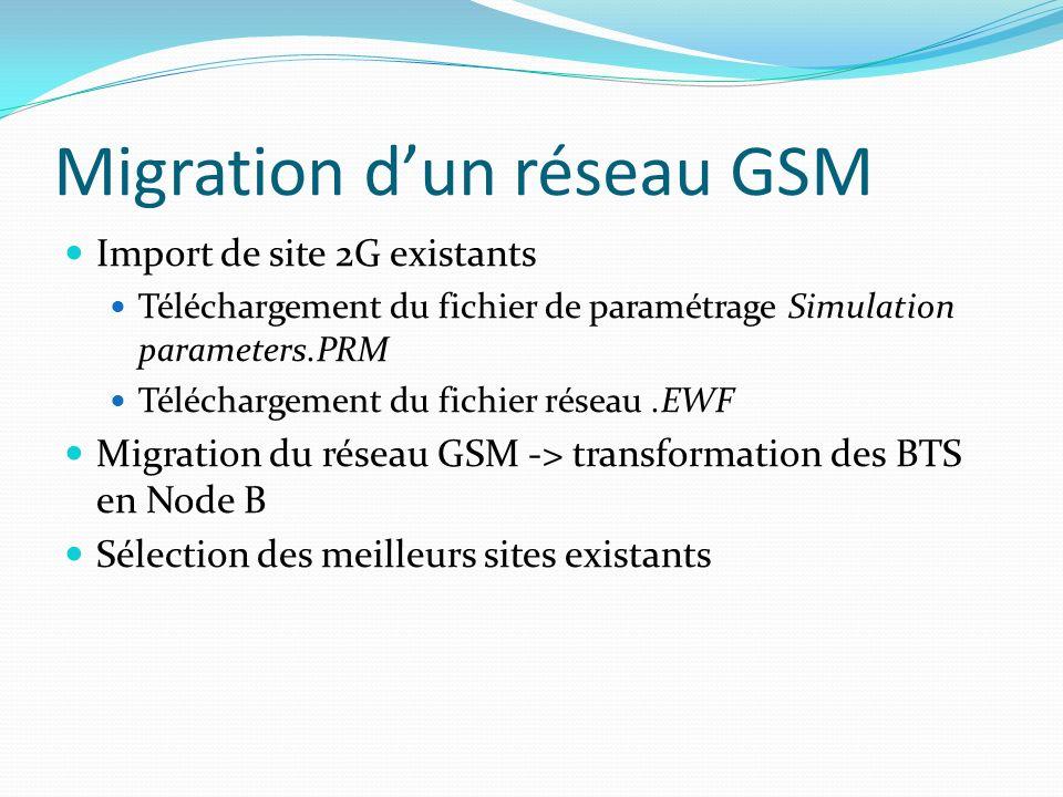 Import de site 2G existants Téléchargement du fichier de paramétrage Simulation parameters.PRM Téléchargement du fichier réseau.EWF Migration du résea