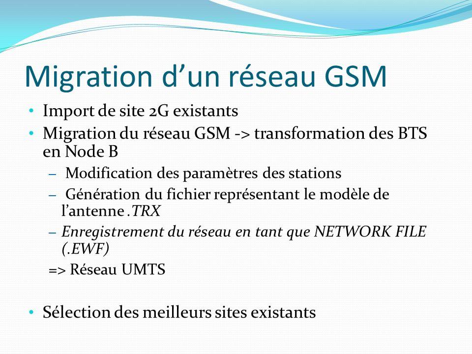 Migration dun réseau GSM Import de site 2G existants Migration du réseau GSM -> transformation des BTS en Node B – Modification des paramètres des sta