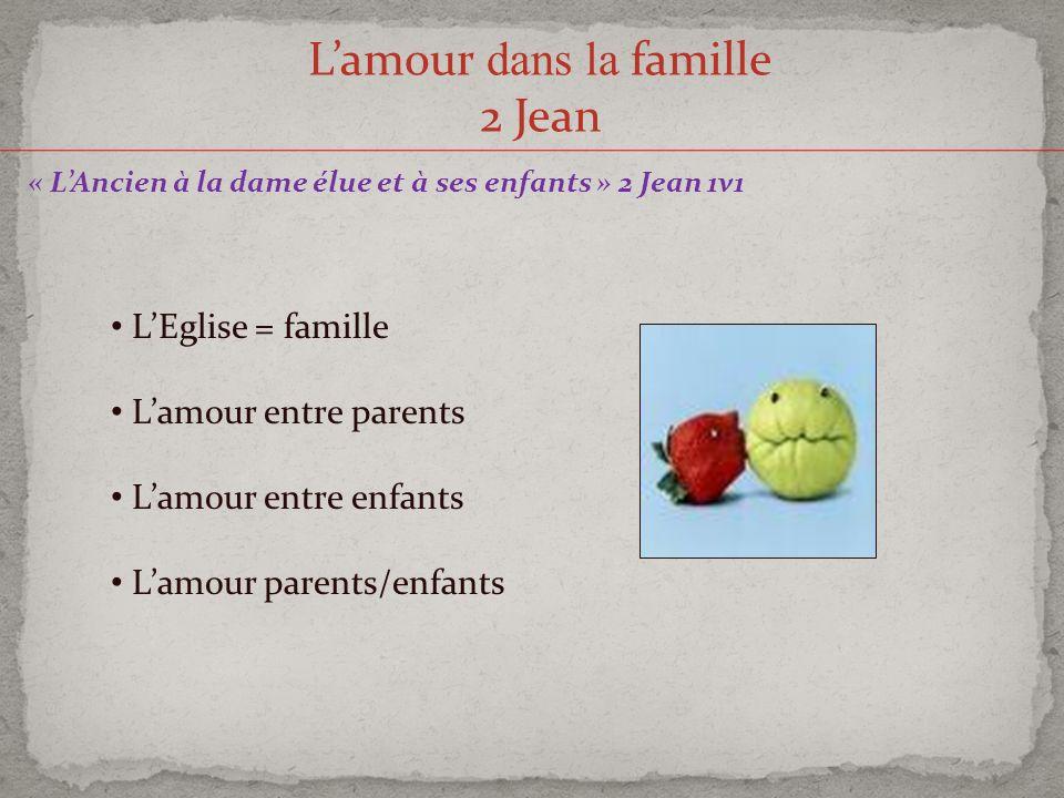Lamour dans la famille 2 Jean « LAncien à la dame élue et à ses enfants » 2 Jean 1v1 LEglise = famille Lamour entre parents Lamour entre enfants Lamou