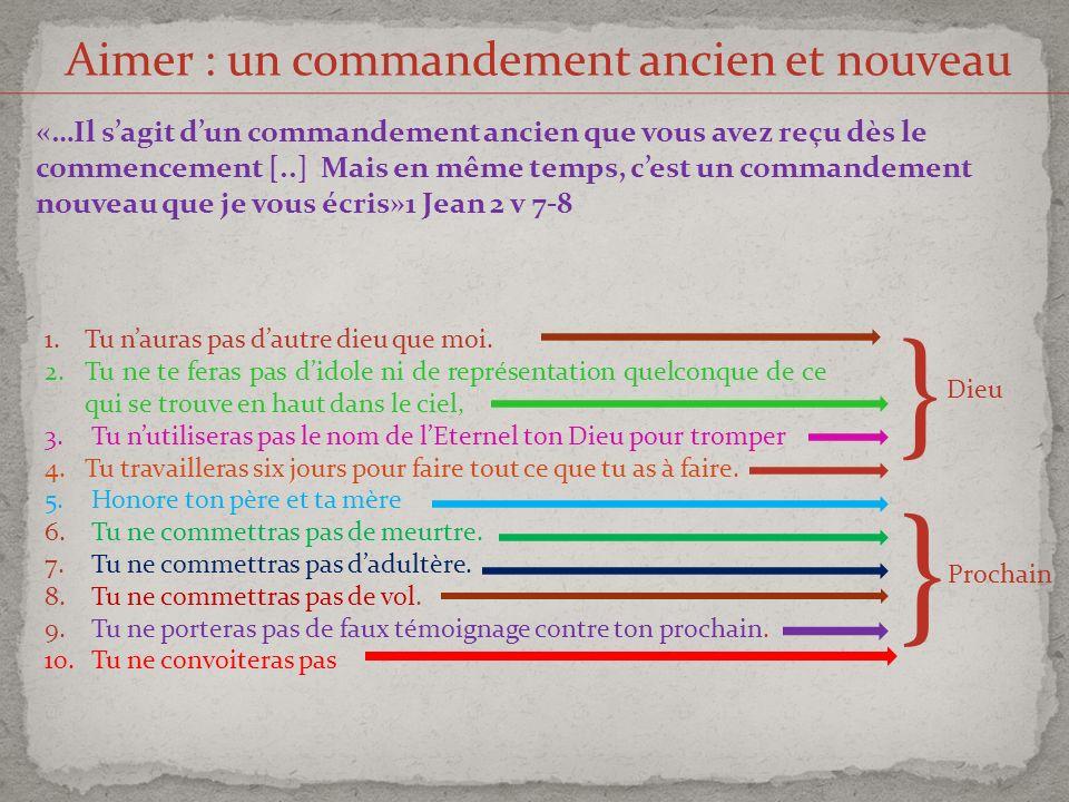 Aimer : un commandement ancien et nouveau «…Il sagit dun commandement ancien que vous avez reçu dès le commencement [..] Mais en même temps, cest un c
