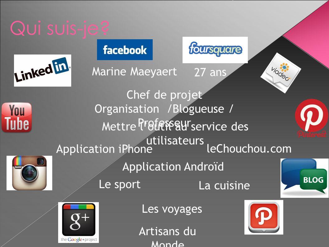Marine Maeyaert 27 ans Chef de projet Organisation /Blogueuse / Professeur Mettre loutil au service des utilisateurs Application iPhone Application An