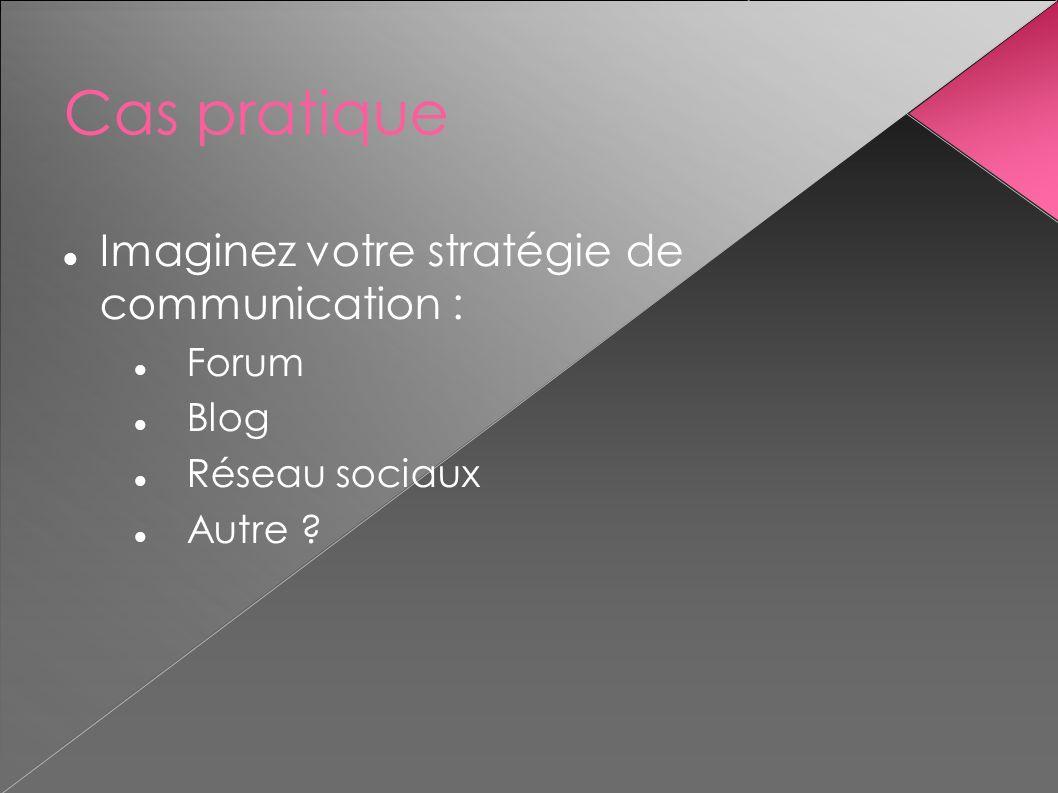 Cas pratique Imaginez votre stratégie de communication : Forum Blog Réseau sociaux Autre ?