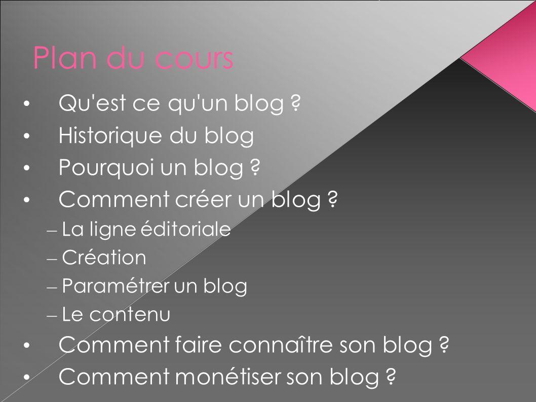 Plan du cours Qu'est ce qu'un blog ? Historique du blog Pourquoi un blog ? Comment créer un blog ? – La ligne éditoriale – Création – Paramétrer un bl