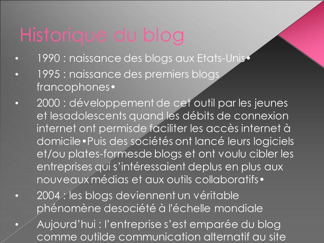 Historique du blog 1990 : naissance des blogs aux Etats-Unis 1995 : naissance des premiers blogs francophones 2000 : développement de cet outil par le