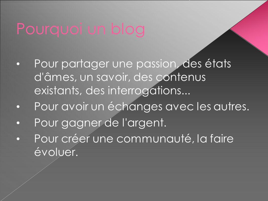 Pourquoi un blog Pour partager une passion, des états d'âmes, un savoir, des contenus existants, des interrogations... Pour avoir un échanges avec les