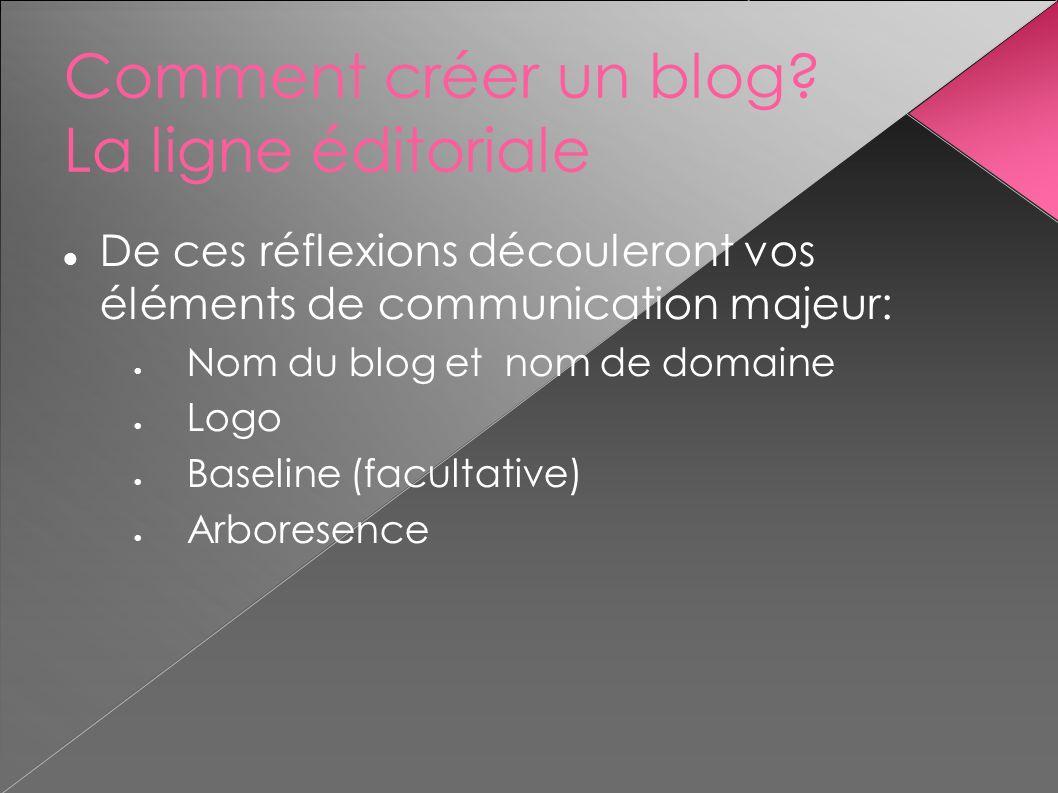Comment créer un blog? La ligne éditoriale De ces réflexions découleront vos éléments de communication majeur: Nom du blog et nom de domaine Logo Base