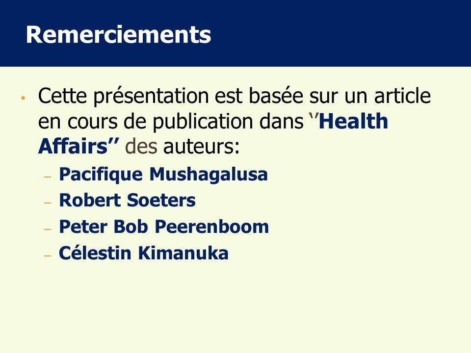 Remerciements Cette présentation est basée sur un article en cours de publication dans Health Affairs des auteurs: – Pacifique Mushagalusa – Robert So