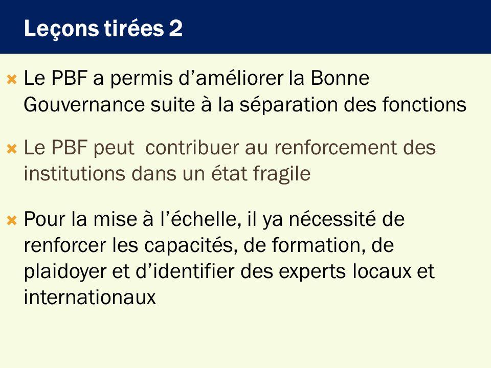 Le PBF a permis daméliorer la Bonne Gouvernance suite à la séparation des fonctions Le PBF peut contribuer au renforcement des institutions dans un ét