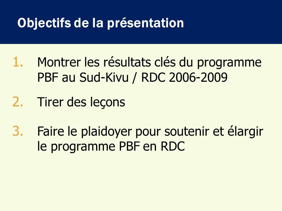 En 2004: Expérience pilote district sanitaire dIdjwi En 2006, démarrage du PBF Santé dans 2 districts Katana & Idjwi et création de lAAP Katana 2008, lancement du programme dans 2 autres districts à Shabunda: PBF multisectoriel Santé-Education-Route et création de lAAP/Shabunda En 2009, Elargissement du PBF dans le 5 ème district (Miti- Murhesa) En 2009, Création du bureau de coordination de lAAP à Bukavu Bref historique du PBF au Sud-Kivu