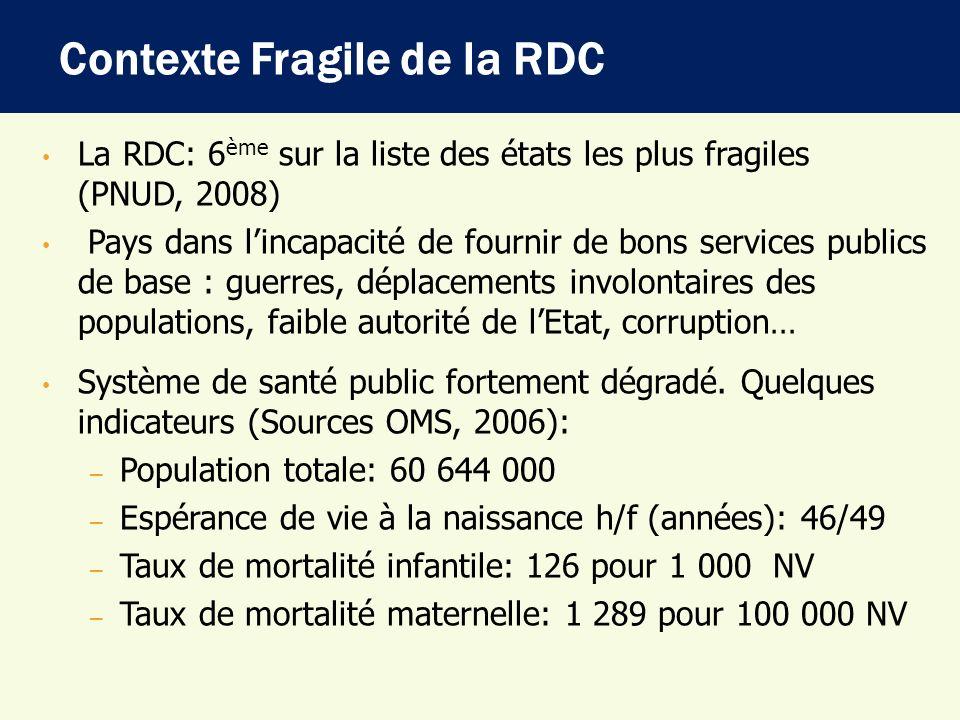 La RDC: 6 ème sur la liste des états les plus fragiles (PNUD, 2008) Pays dans lincapacité de fournir de bons services publics de base : guerres, dépla