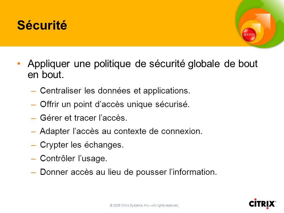 © 2005 Citrix Systems, Inc.All rights reserved. Sécurité Appliquer une politique de sécurité globale de bout en bout. –Centraliser les données et appl