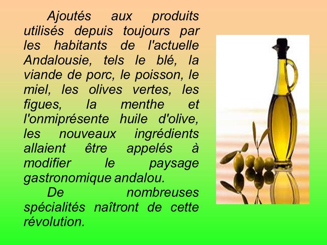 Ajoutés aux produits utilisés depuis toujours par les habitants de l'actuelle Andalousie, tels le blé, la viande de porc, le poisson, le miel, les oli
