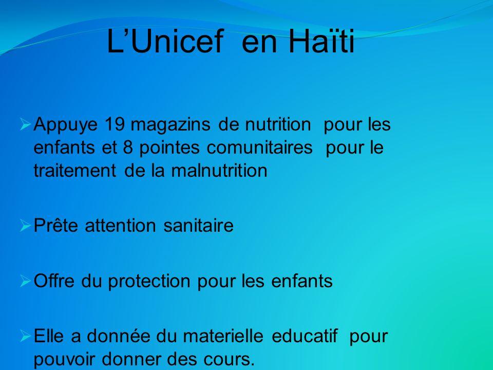 LUnicef en Haïti Appuye 19 magazins de nutrition pour les enfants et 8 pointes comunitaires pour le traitement de la malnutrition Prête attention sanitaire Offre du protection pour les enfants Elle a donnée du materielle educatif pour pouvoir donner des cours.