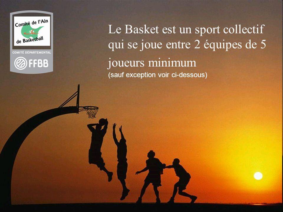 Le Basket est un sport collectif qui se joue entre 2 équipes de 5 joueurs minimum (sauf exception voir ci-dessous)