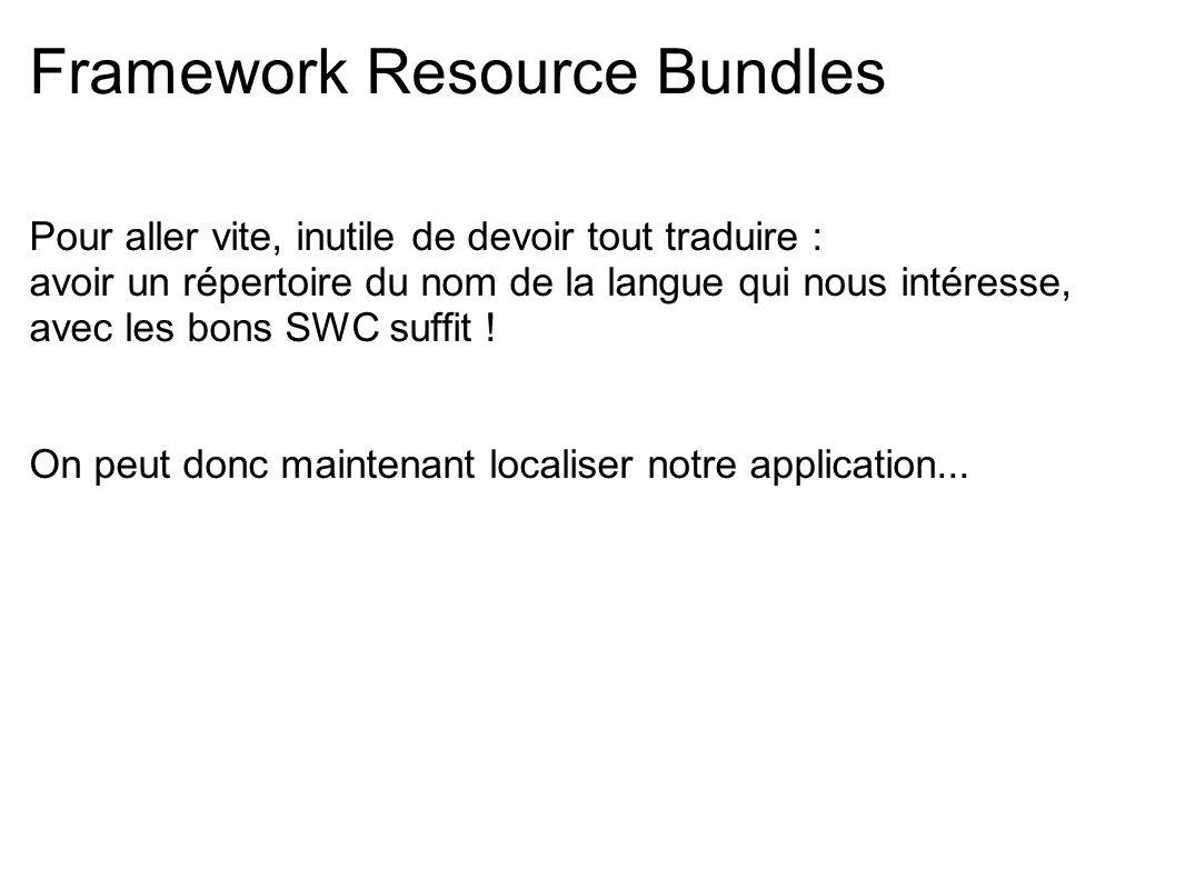 Framework Resource Bundles Pour aller vite, inutile de devoir tout traduire : avoir un répertoire du nom de la langue qui nous intéresse, avec les bon