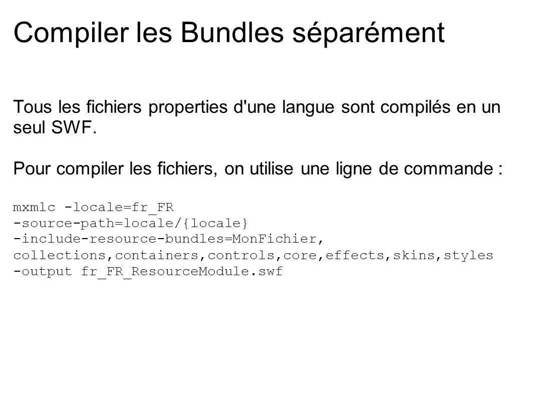 Compiler les Bundles séparément Tous les fichiers properties d'une langue sont compilés en un seul SWF. Pour compiler les fichiers, on utilise une lig