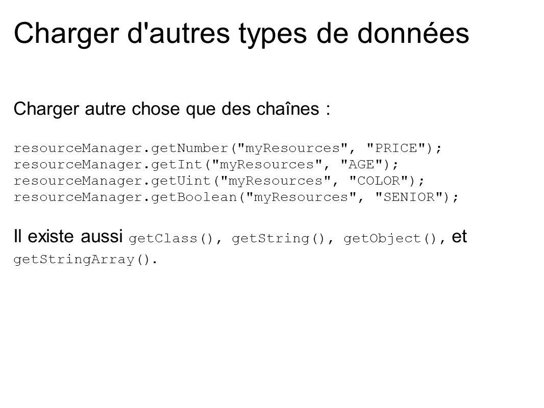 Charger d'autres types de données Charger autre chose que des chaînes : resourceManager.getNumber(
