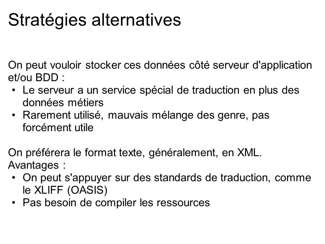 Stratégies alternatives On peut vouloir stocker ces données côté serveur d'application et/ou BDD : Le serveur a un service spécial de traduction en pl