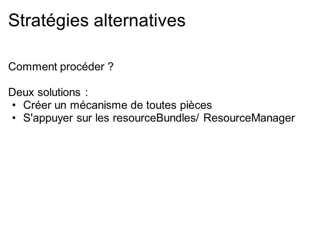 Stratégies alternatives Comment procéder ? Deux solutions : Créer un mécanisme de toutes pièces S'appuyer sur les resourceBundles/ ResourceManager